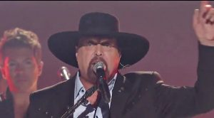 Eddie Montgomery Appears On Stage During Troy Gentry Tribute At 2017 CMAs