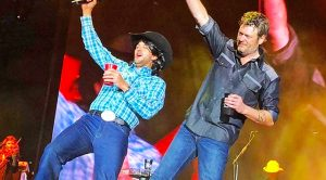 Luke Bryan Crashes Blake Shelton's Party To Sing George Strait's 'All My Ex's'