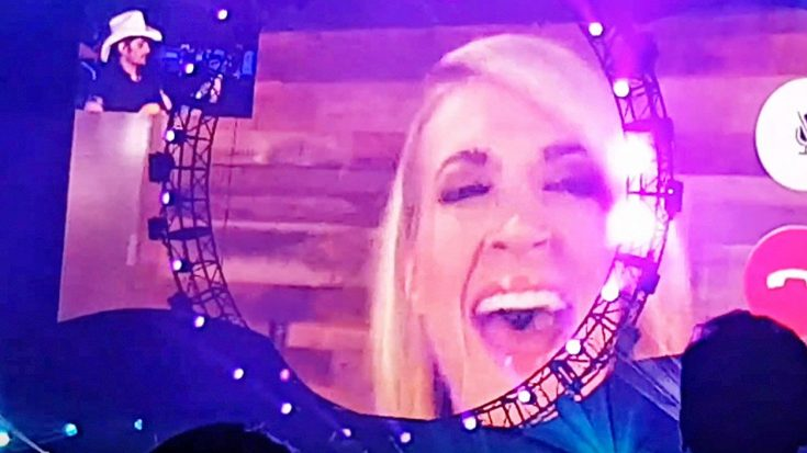 """Brad Paisley Unexpectedly Facetimes Carrie Underwood At Concert For Killer """"Remind Me"""" Duet"""