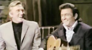 "Kirk Douglas Stops By ""The Johnny Cash Show"" And Sings ""I Walk The Line"""