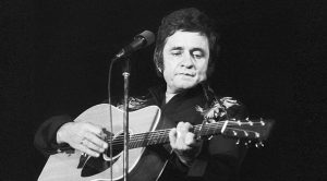 Face Of Johnny Cash Photographed In Frozen Waterfall