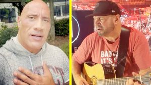 """""""The Rock"""" Sings Garth Brooks Song For Fan…Then Garth Joins In"""