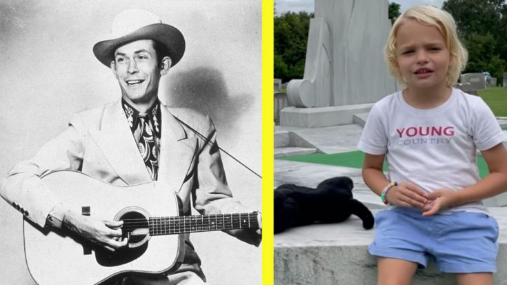 """Hank Williams' 4-Year-Old Great-Grandson Sings """"I Saw The Light"""" At His Graveside"""